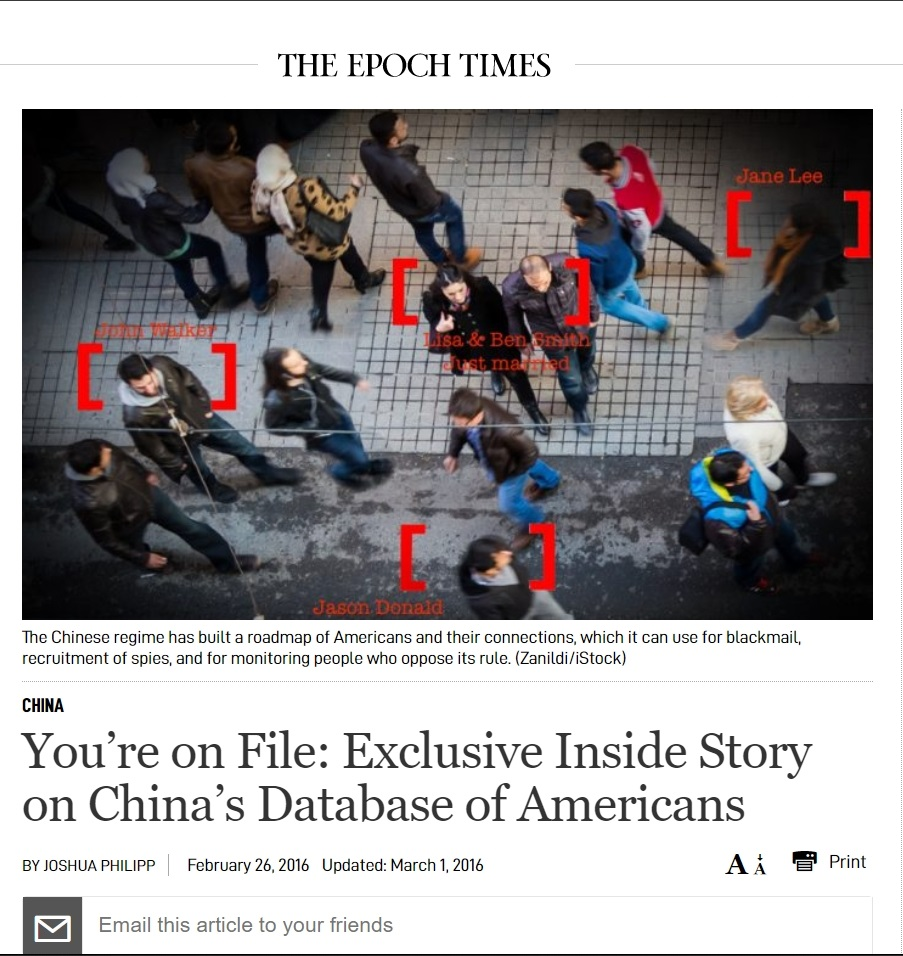 You're on File: Exclusive Inside Story on China's Database of Americans